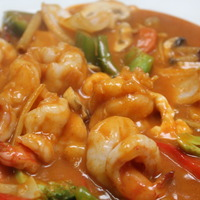 61. scampi's in rode thaise currysaus