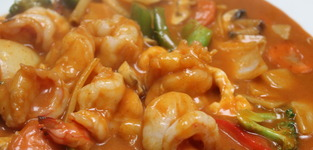 64. scampi's in rode thaise currysaus